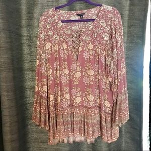 Boho style floral long bell sleeve top